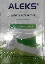 Aleks For Math Student Access Code 18 Weeks Broward College