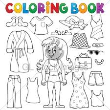 Coloring Book Girl With Clothes Theme 1