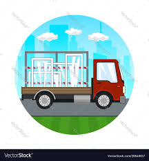 Small Truck With Windows On The Road Royalty Free Vector