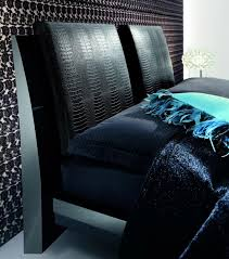 Black Leather Headboard With Diamonds by Rossetto Diamond Black Bed