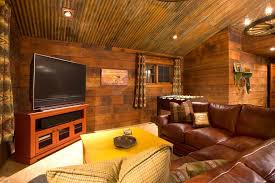 Corrugated Ceiling Ideas Family Room Rustic With Rusted Metal Wood Walls Leather Sectional Sofa