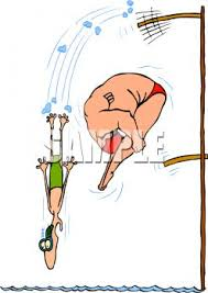 Skinny Guy And Fat Jumping Off Diving Boards