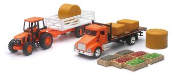 Amazon.com: NewRay Kubota Farm Playset With M5 Tractor Truck Trailer ... John Deere 116th Scale Big Farm Truck With Cattle Trailer 1 64 Ford Louisville L9000 Grain Scratch Custom Toy Wyatts Toys Trailers Rockin H Trucks Tonka Classic Steel Stake Wwwkotulascom Free 1950s 2 Listings 1975 Chevy C65 Tag Axle And 20 Grain Body Snt Custom 0050 Blue Ih 4300 Pulling A Wilson Pup