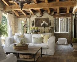 Farmhouse living room decorating with white sofa and vintage