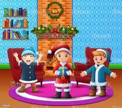 karikatur glückliche kinder in das geräumige wohnzimmer mit weihnachten und neujahr dekoration stock vektor und mehr bilder band