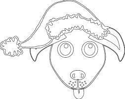 Dog 1 Face Grey With Santa Hat Black White Line Art Christmas Xmas Stuffed Animal Coloring Book ColouringSVG 79K