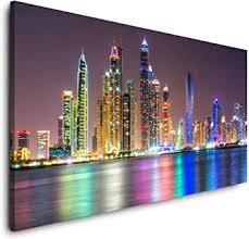 paul sinus skyline dubai 120x 60cm panorama leinwand bild format wandbilder wohnzimmer wohnung deko kunstdrucke