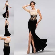 black white applique prom dress long evening ball dress for