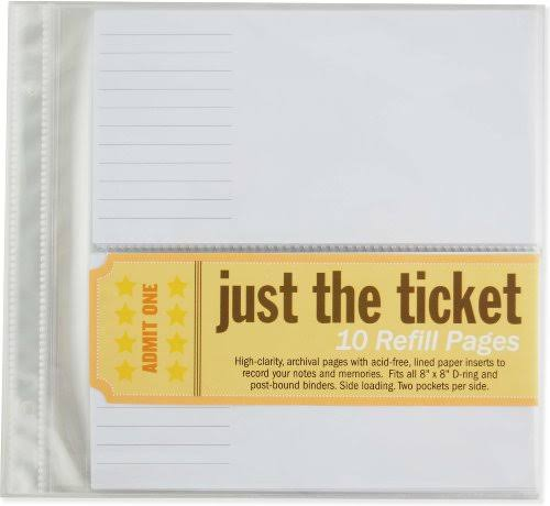 Peter Pauper Press Just the Ticket Refill Sheets - 10 Refill Pages