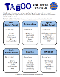 Girl Guide Taboo Card Game A Word Played In Patrols Created By