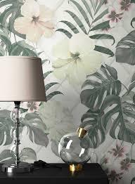 newroom vliestapete blumentapete grün weiß palmen wallpaper floral blumen tapete dschungel pflanzen wohnzimmer schlafzimmer büro flur kaufen