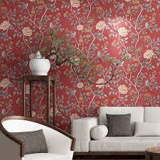 großhandel blumen tapete blumen wandpapier rot gelb blauer chinoiserie retro mädchen schlafzimmer yueji 24 94 auf de dhgate dhgate