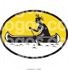 Vector Logo Of A Native American Indian Paddling Canoe
