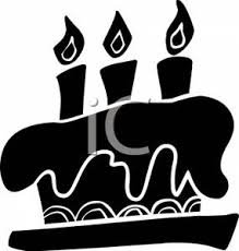 Clipart Picture Black and White Birthday Cake