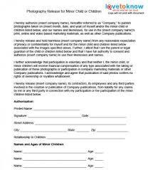Photo Release For Minor Children