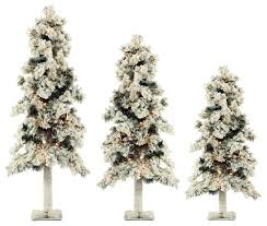 Snowy Dunhill Christmas Trees by 3 Piece Snowy Alpine Artificial Christmas Trees Set Traditional