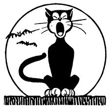 Retro Halloween Clip Art Black Cat with Moon The Graphics Fairy
