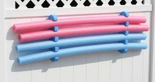 Swimming Pool Noodles with Hanging Pool Float Storage and Wall