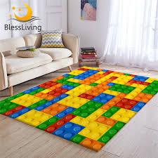 blessliving spielzeug print kinder teppich dot bausteine teppiche für schlafzimmer junge 3d teppich bunte ziegelsteine spiel wohnzimmer teppich