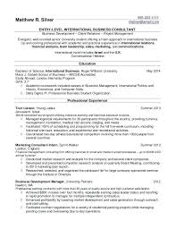 Internship Resume Samples For College Students Student Sample