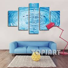 5 piece wall decor canvas blue water droplets ripples art painting