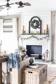 After Christmas Winter Mantel And Living Room