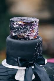 Picture Of Black And Deep Purple Wedding Cake With White Constellation Decor A Ribbon
