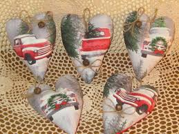 5 HANDMADE OLD Red Truck Fabric Heart Ornaments Farmhouse Christmas ... Christmas Red Truck Fabric Door Hanger Unique Home Decor Wreath Patchwork Quilting Sewing Coal Ming Truck Panel 90x110cm New Fire Hook Ladder Cotton Etsy Pin By Beautiful Quilt On Car Pinterest Ford Truck Fabric Abby Tictail Collage Joann 4 Handmade Old Stars Cabinet Hangers Boys Stop 12 Yard Food Trucks Taco Bacon Patriotic Monster Iron Applique Embroidered Red 41 Off 2018 Tree 3d Digital Prting
