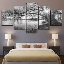 großhandel wandkunst 5 stücke leinwandbilder für wohnzimmer poster rahmen see große bäume gemälde schwarz weiß landschaft wohnkultur