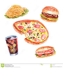watercolor fast food lunch menu set restaurant hand drawn pizza hotdog pictograms position vector isolated
