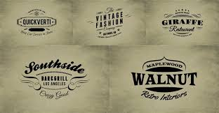 Free Retro Insignias Signs 5 Logos Photoshop PSD