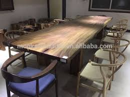 Customized Long Solid Walnut Wooden Dining Table Square 12 Seater