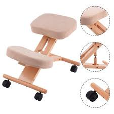 costway ergonomic kneeling chair wooden adjustable mobile padded