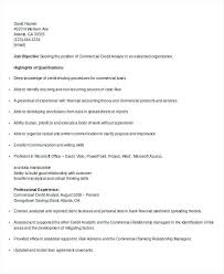 Commercial Banking Resume Credit Analyst Banker Sample