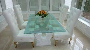 Glass Dining Room Table Etched Top Set For Sale