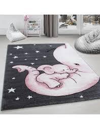 kinderteppich kinderzimmer teppich niedlicher elefantenbaby grau weiß pink