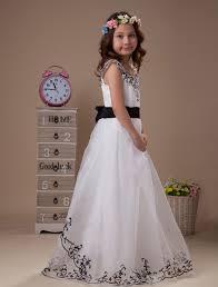 cap sleeves black white junior bridesmaid dresses embroidery