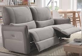 canap relax 3 places canapé de relaxation 3 places electrique microfibre gris clair barca