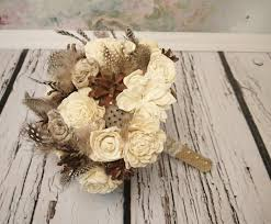 Winter Wedding Rustic Wonderland MEDIUM Bridal Bridesmaid BOUQUET Cream Flowers Pine Cones Natural Guinea Hen Feathers Sola Roses Lotos