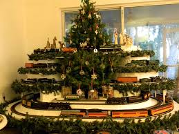 Christmas Train Sets Under Tree Photo Album