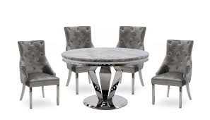 Amour 1.3m Marble Round Dining Table With 4 Chairs