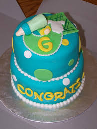 Teal Green Yellow Baby Shower Cake