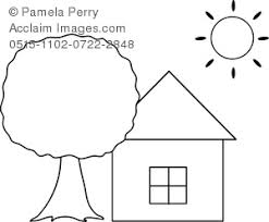 Clip Art Illustration Of A Simple House Or Cottage Coloring Page