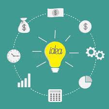 business icon set light bulb idea incide dash line circle money