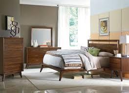 Mid Century Modern Bedroom White Wall Gray Rug Floor Brown