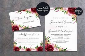 Description Watercolor Marsala Burgundy Gold Floral Wedding Invitation