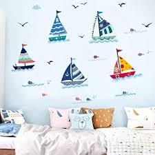 wandsticker4u wandtattoo kinder segelboote i wandbilder 175x70 cm i fliesenaufkleber kinderzimmer junge segel boot schiff ozean meer maritim fische