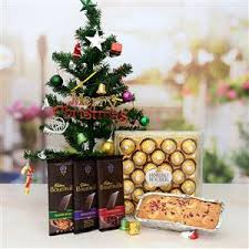 Chocolate And Dry Fruits Cake With Christmas Tree