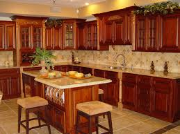 L Shape Kitchen Design And Decoration Using Backless Square Solid Cherry Wood Tall