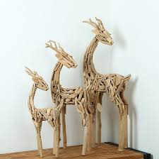Home Decor Modern Style Wood Artworks Tube Unique Gift Ideas 100 Handmade 3 Pieces Deers In Different Sizes Craft On Aliexpress